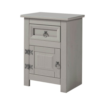 Corona Compact Grey 1 Door 1 Drawer Bedside Cabinet with Glass Top